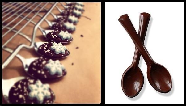 Çikolata kaşıklı kahve sunum